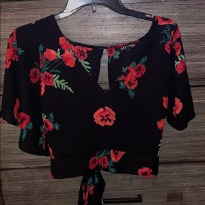 Express tie back crop top blouse